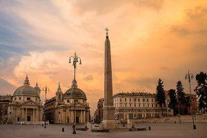 piazza del popolo foto con colori caldi, obelisco